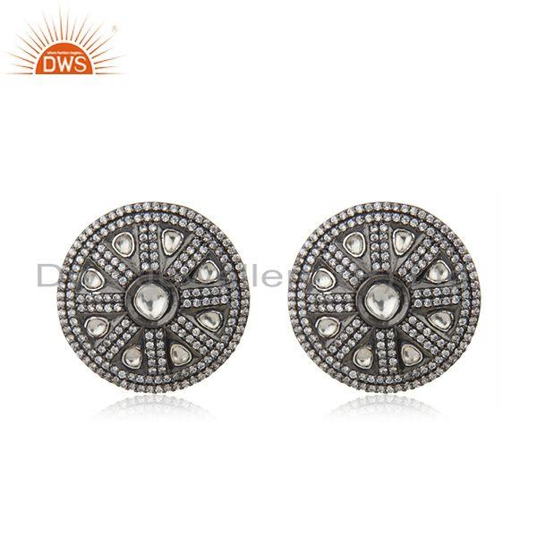 Crystal and White Zircon Victorian Style Silver Round Stud Earring Manufacturer