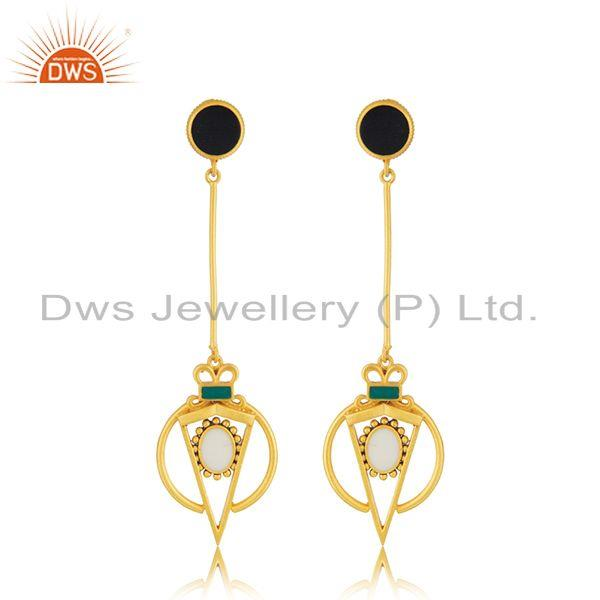 Wholesale Gold Plated Silver Enamel Chain Earring Jewelry
