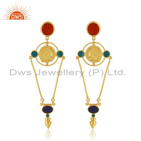 Designer Hand Craved Silver Gold Plated Enamel Earring Jewelry