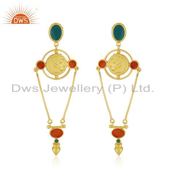 Hand Craved Gold Plated 925 Silver Designer Enamel Earring Jewelry