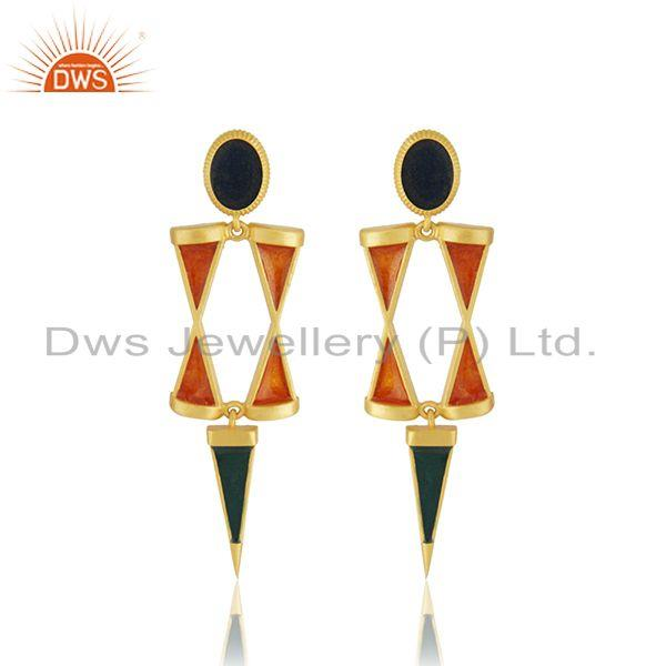 Manufacturer 925 Silver Gold Plated Enamel Earring Jewelry
