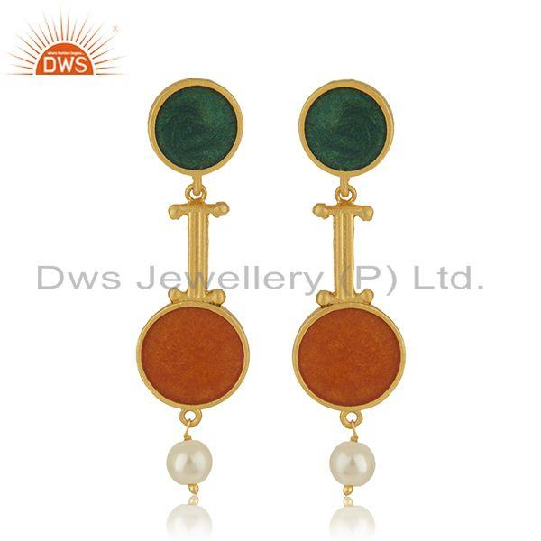 Multi Color Meena Natural Pearl Gold Plated 925 Silver Earrings Wholesaler India