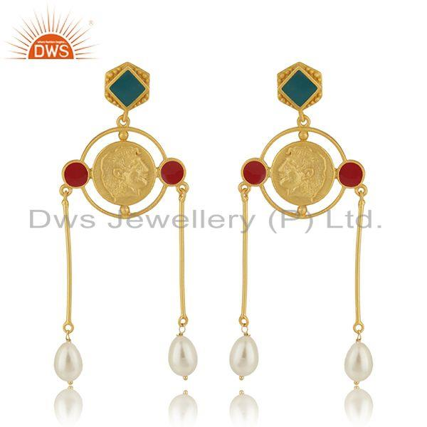 Handcrafted Antique Face Gold Plated 925 Silver Dangle Earrings Manufacturer