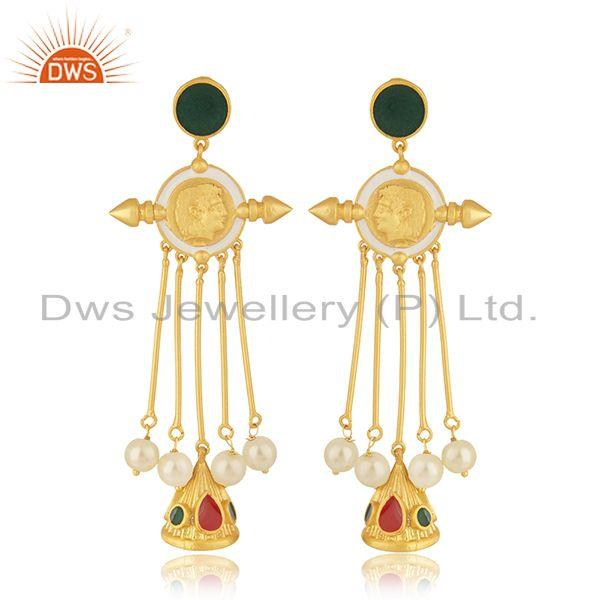 Handmade 925 Silver Gold Plated Hand Work Antique Face Earrings Manufacturer