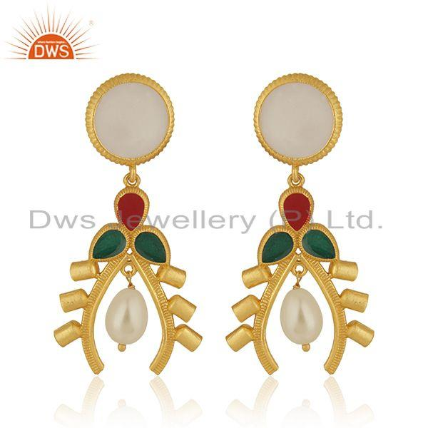 Natural Pearl 925 Sterling Silver Gold Plated Dangle Earrings Manufacturer India