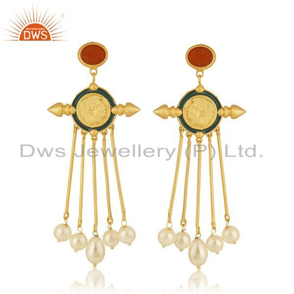Handcrafted Face Design Gold PLated 925 Silver Pearl Earrings Wholesale