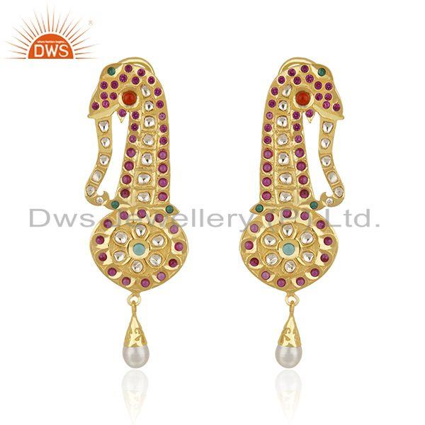 CZ and Hydro Gemstone Gold Plated Silver Kundan Earrings Jewelry Supplier