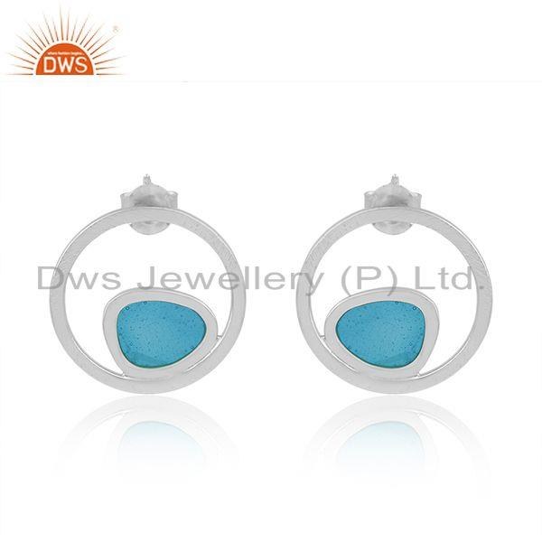 Handmade Blue Enamel 925 Sterling Silver Designer Earrings Wholesale