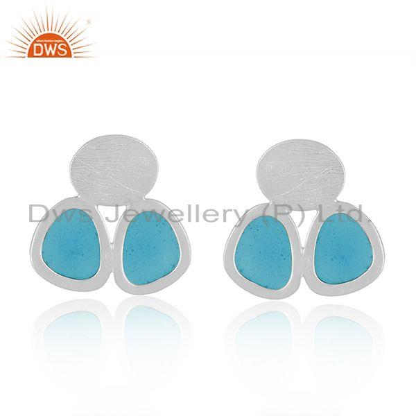 Handmade Blue Enamel Sterling Fine 925 Silver Designer Earrings