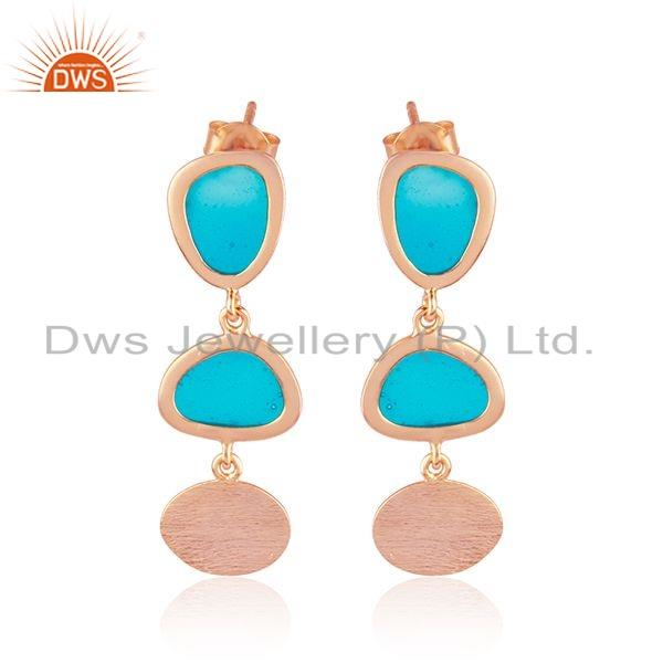 Handmade Enamel Design Texture Rose Gold Plated Silver Earring Jewelry