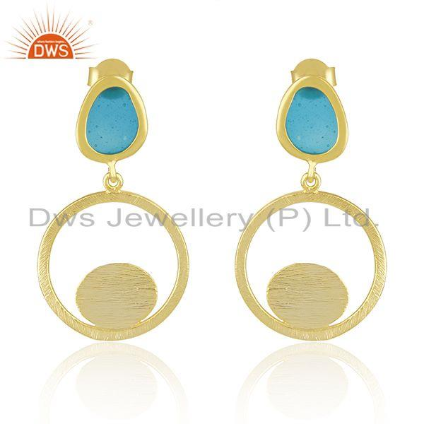 Brushed Finish Gold Plated 925 Silver Blue Enamel Handmade Earrings