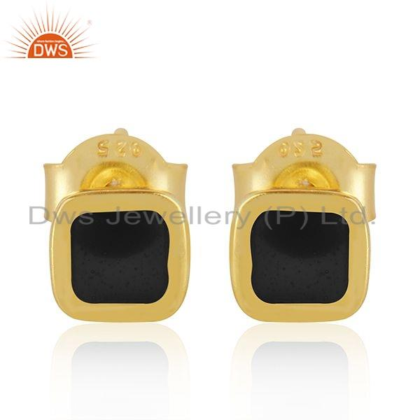 Black Enamel Designer 18k Gold Plated 925 Silver Stud Earrings Jewelry