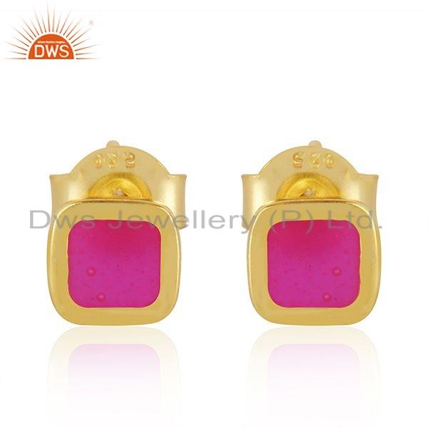 Handmade Pink Enamel 18k Gold Plated 925 Silver Stud Earrings Jewelry