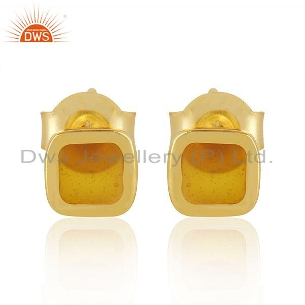 Yellow Enamel Gold Plated 925 Silver Stud Earrings Jewelry Manufacture