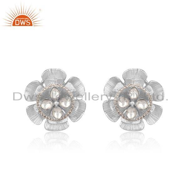Textured floral design silver 925 studs with crystal quartz and cz