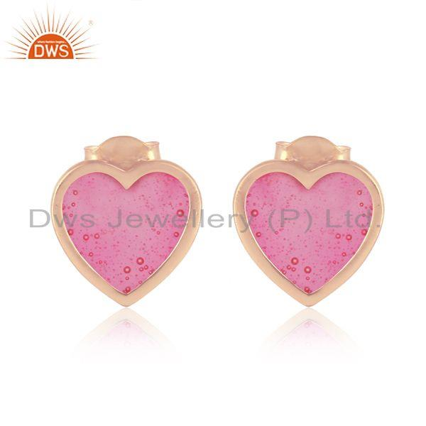 Dainty Stud in Rose Gold On Silver 925 with Light Pink Enamel