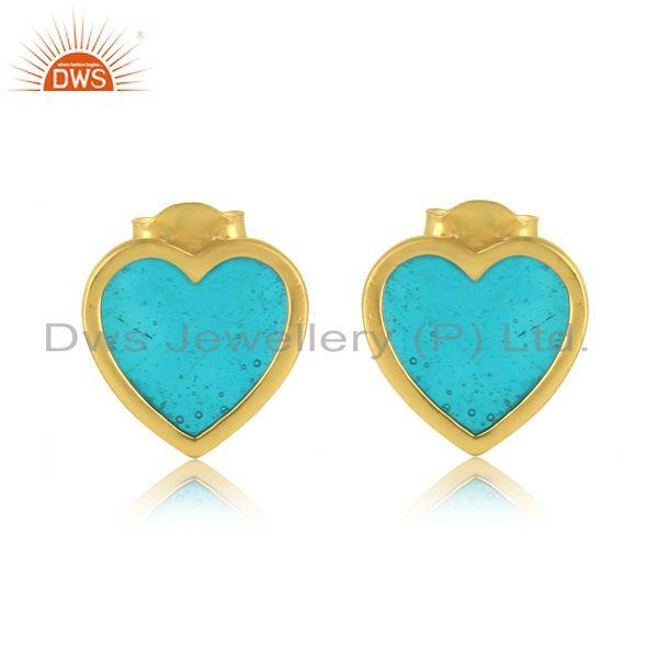 Dainty Stud in Yellow Gold On Silver 925 with Light Blue Enamel