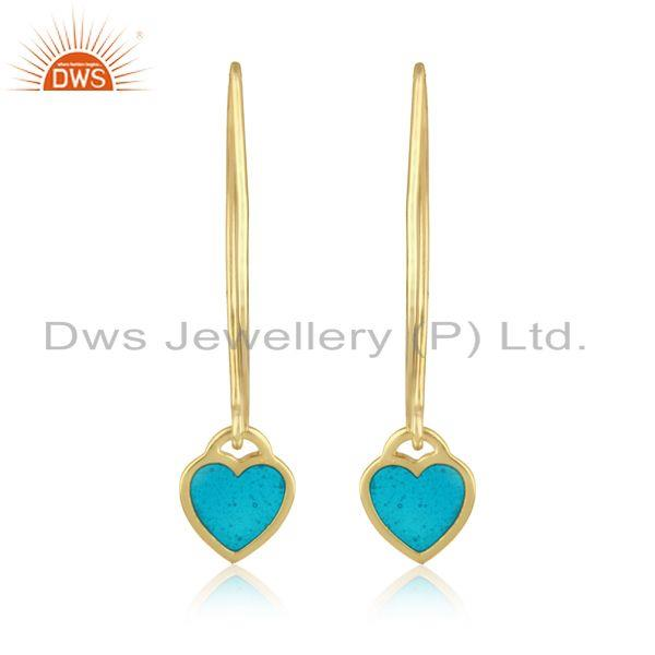 Dangle Earring in Yellow Gold plated Silver with Light Blue Enamel
