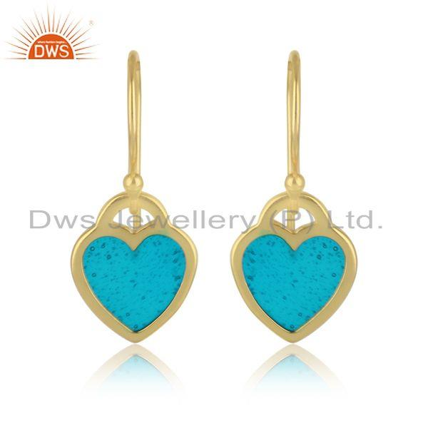 Heart Dangle in Yellow Gold plated Silver with Light Blue Enamel