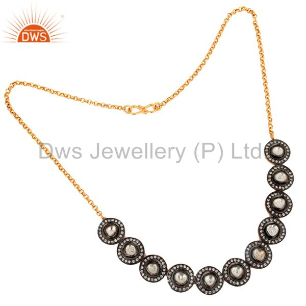 Gold Plated 925 Sterling Silver Crystal Quartz Polki Victorian Inspired Necklace