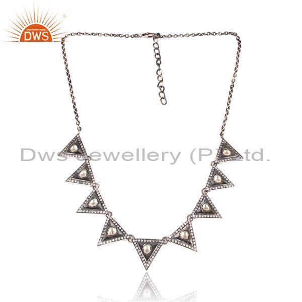 CZ, Crystal Quartz Set Oxidized Silver Ethnic Boho Necklace