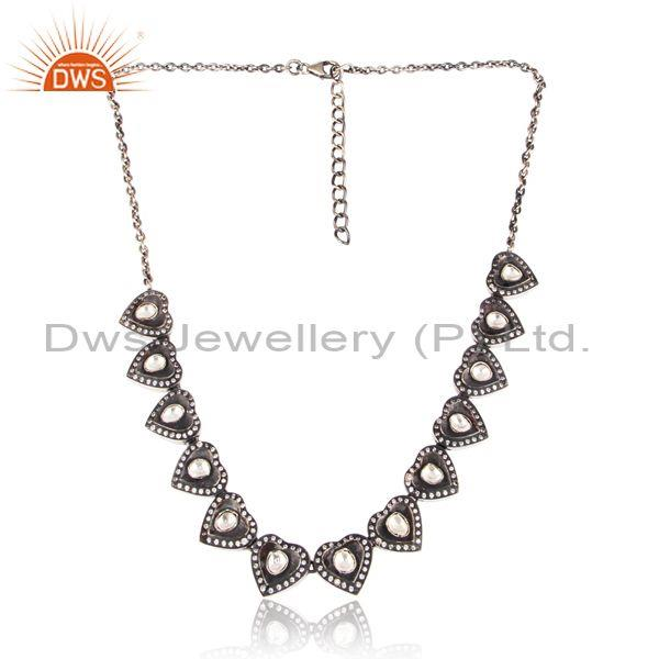 Cz and crystal quartz set oxidized silver handmade necklace