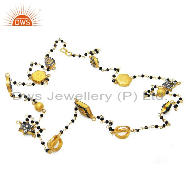 22K Gold Plated Sterling Silver CZ And Black Onyx Beaded Chain Necklace