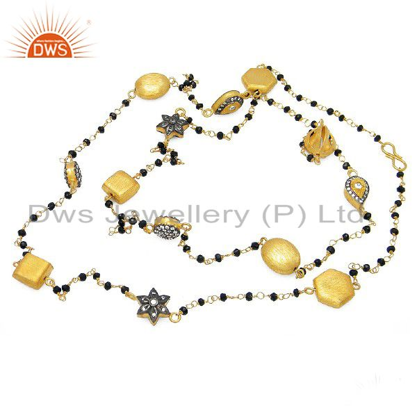 18K Gold Plated Sterling Silver CZ And Black Onyx Beaded Chain Necklace