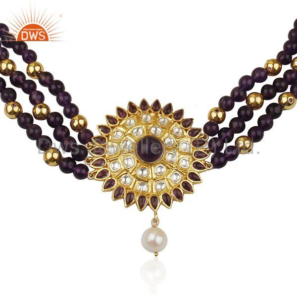 Handcrafted 925 Silver Amethyst and Pearl Beaded Necklace Manufacturer India