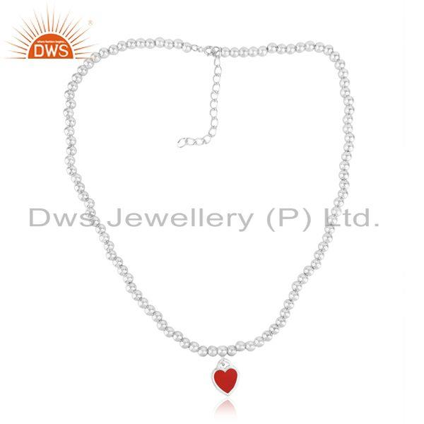 Red Enamel Heart Charm Beaded Necklace in Rhodium Over Silver