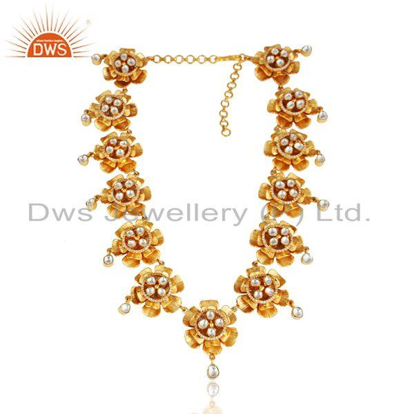 Floral Chokar Necklace in Yellow Gold on Silver with Crystal and Cz