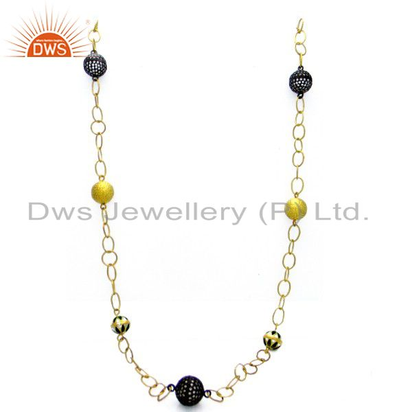 22K Yellow Gold Plated Sterling Silver CZ Spheres Designer Chain Necklace