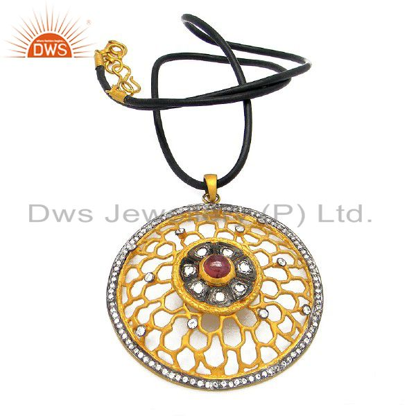 22K Gold Plated Silver CZ And Tourmaline Filigree Designer Pendant Necklace