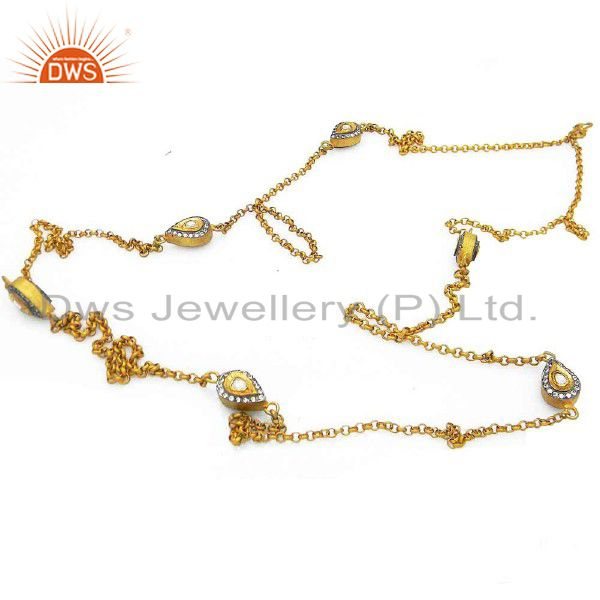 22K Yellow Gold Plated Silver CZ Crystal Polki Vintage Designer Chain Necklace