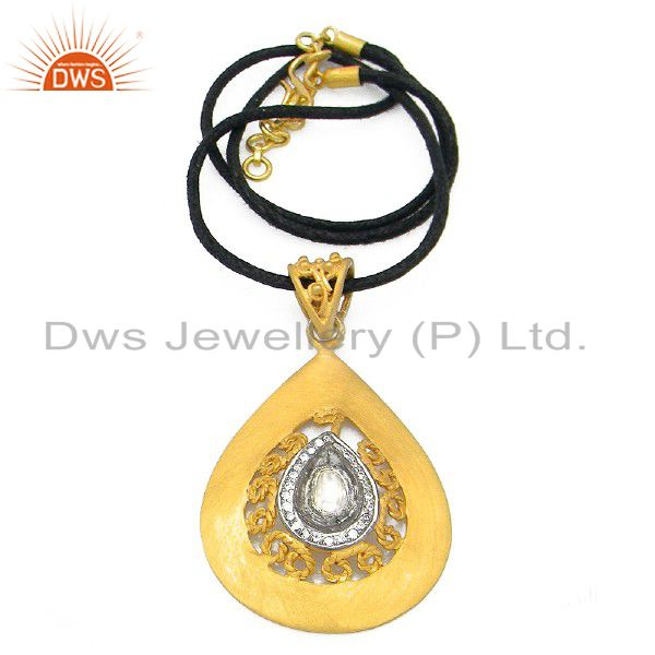 22K Yellow Gold Plated Sterling Silver Crystal CZ Polki Pendant Cord Necklace
