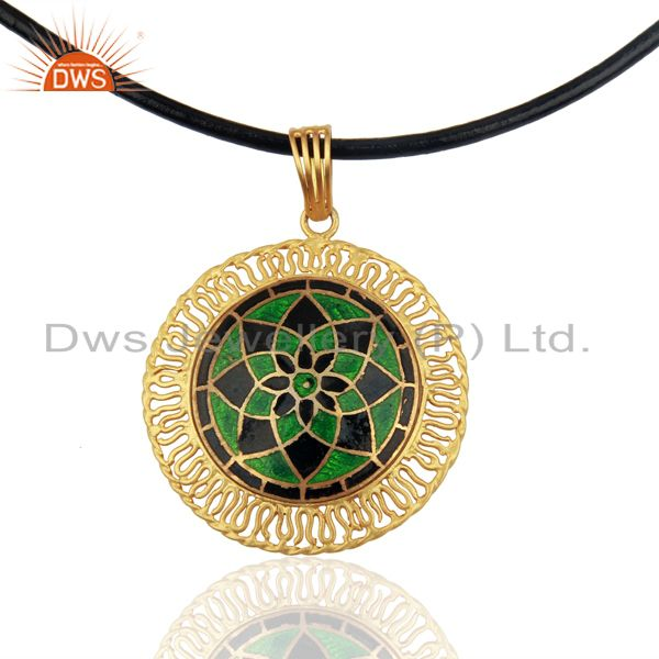 18k yellow gold plated sterling silver traditional enamel pendant necklace