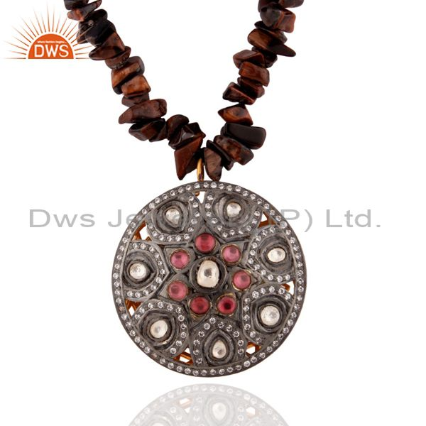 925 Sterling Silver Crystal Victorian Design CZ Pendant Tiger Eye Chip Necklace