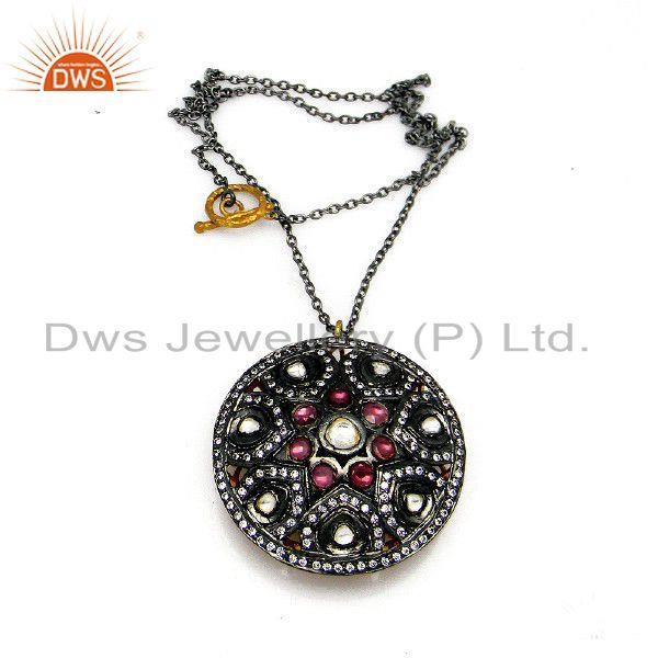 Oxidized Sterling Silver Rhodolite And CZ Polki Victorian Pendant Chain Necklace