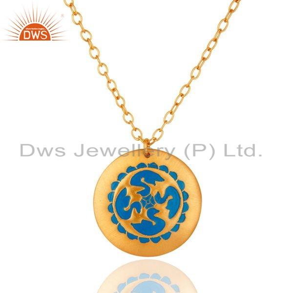 18k yellow gold over brass handcrafted blue enamel work pendant necklace