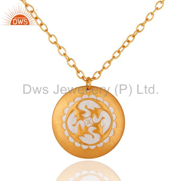 Handmade 22K Yellow Gold Plated Latest Fashion Designer White Enamel Pendant