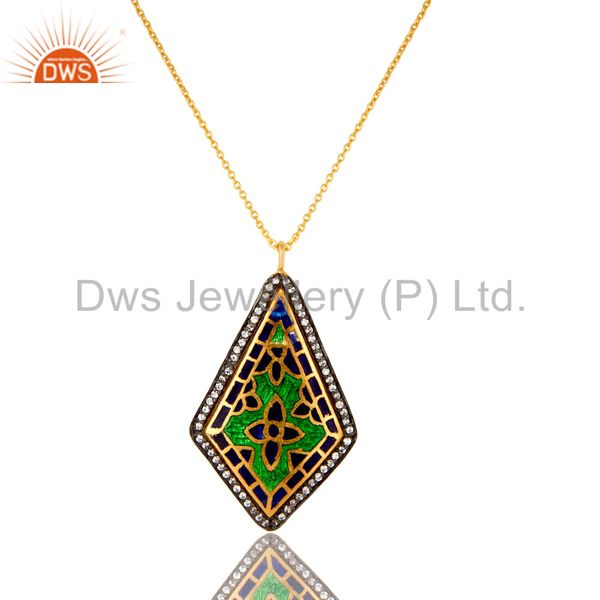 18K Yellow Gold Plated Sterling Silver Enamel Work And CZ Pendant With Chain