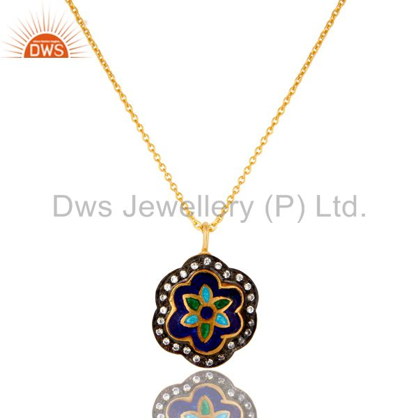 18K Yellow Gold Plated Sterling Silver Enamel And CZ Designer Pendant With Chain