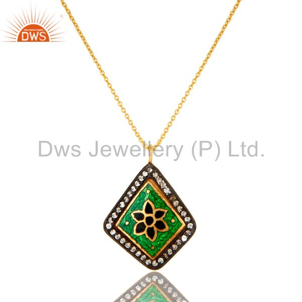 18k yellow gold plated sterling silver cz and enamel work pendant with chain