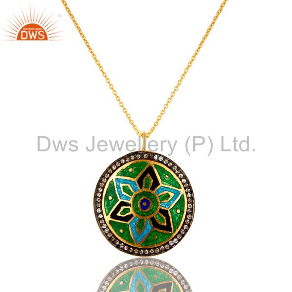 22K Gold Plated Sterling Silver Flower Enamel And CZ Designer Pendant With Chain