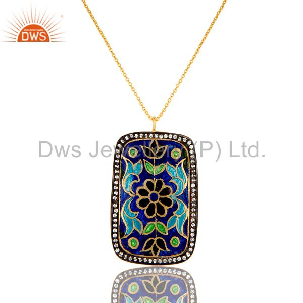 18K Gold Plated Sterling Silver Enamel Design And CZ Pendant With Chain