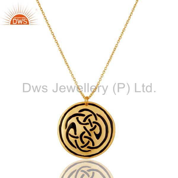 18K Gold Plated Handmade Black Enamel Design Chain Pendant Necklace Jewellery