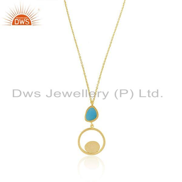 Handmade Brushed Finish Gold Plated Sterling Silver Chain Pendant