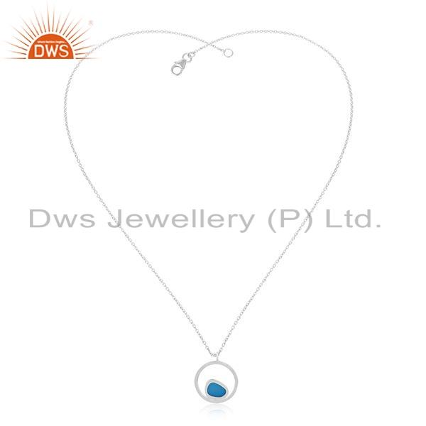 New Look Blue Enamel Design 925 Sterling Fine Silver Chain Pendant