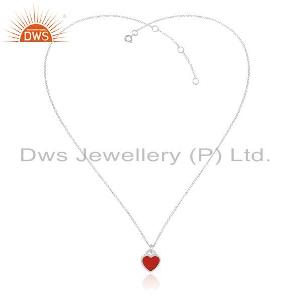 Designer Red Enamel Heart Charm Necklace in Rhodium Over Silver