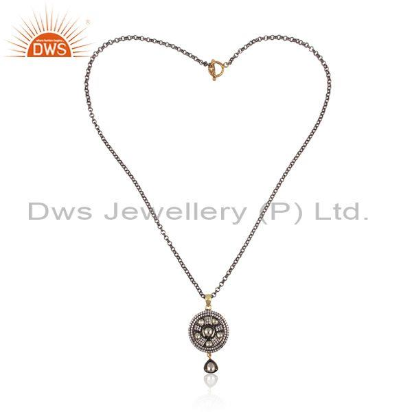 Crystal Quartz, CZ Gold, Black On Silver Pendant And Chain
